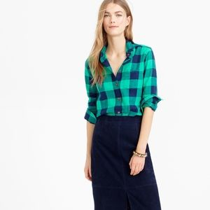 J Crew Emerald Buffalo Check Shrunken Boy Shirt